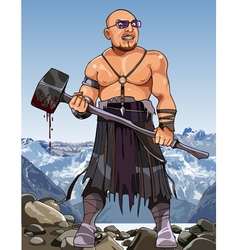 Cartoon angry man modern viking with hammer vector