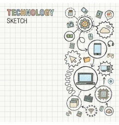 Technology hand draw integrate icons set on paper vector