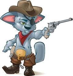 cute kitten playing cowboys vector image