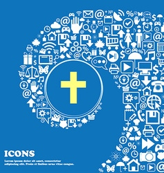 Religious cross christian icon nice set of vector
