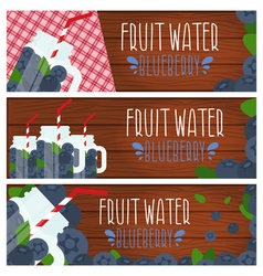 Set of banners with bright fruit water in mason vector