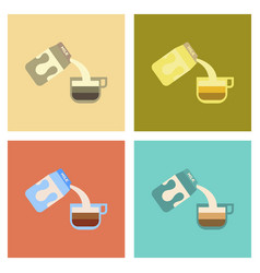 Assembly flat icons coffee carton milk vector