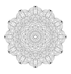 Black white round abstract mandala with vector