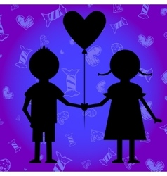 boy and girl with baloon vector image