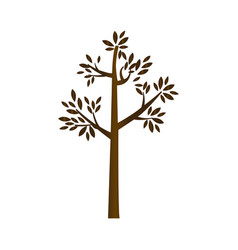 Brown silhouette tree with leaves and trunk vector
