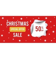 Christmas Sale banner on red background with 50 vector image