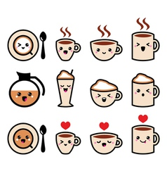 Cute coffee cappuccino and espresso kawaii icon vector