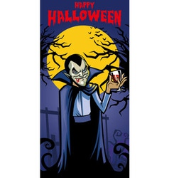 dracula with a glass of blood vector image vector image