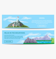 Extreme travel and hiking banner set vector