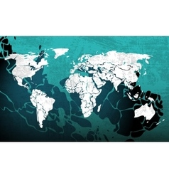 Grunge blue worldmap vector image