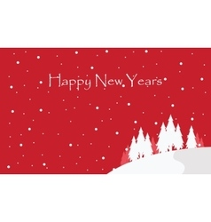 Happy new year with spruce tree scenery vector