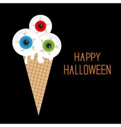 Ice cream with eyeballs bloody streaks halloween vector