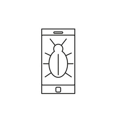 Malware infected phone icon vector