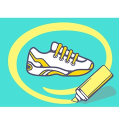 Marker drawing circle around sneaker on g vector