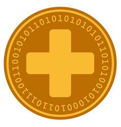 medical cross digital coin vector image vector image