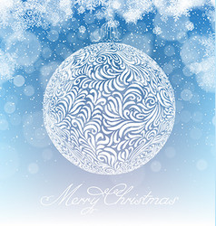 Merry christmas ball xmas background snowfall vector