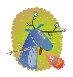 Monster reindeer chrismas new year funny greeting vector