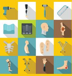 orthopedics prosthetics icons set flat style vector image