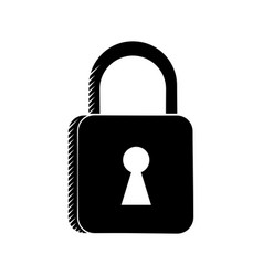 padlock security system technology pictogram vector image