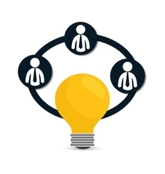Pictogram bulb teamwork support design vector