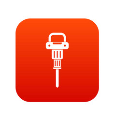 pneumatic hammer icon digital red vector image vector image