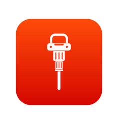Pneumatic hammer icon digital red vector