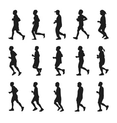Running people silhouettes collection vector