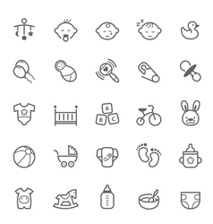 Set of outline stroke baby icon vector