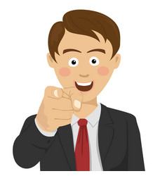 Successful businessman pointing finger at you vector