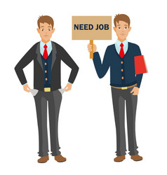 unemployed man with cv need job and money vector image