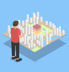 Virtual reality city plan projection vector