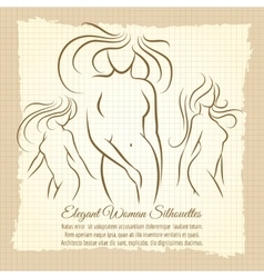 Woman silhouettes set on vintage background vector