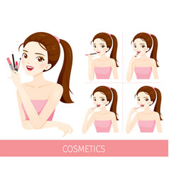 woman with step to apply lip makeup vector image