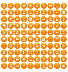 100 church icons set orange vector
