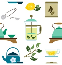 Seamless pattern with tea ceremony and accessories vector