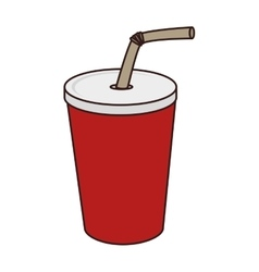 Glass paper straw drink vector