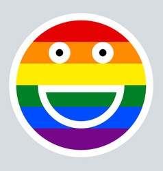 Lgbt rainbow flag smiling face smiley icon vector
