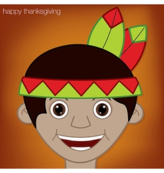 Thanksgiving american indian man character in vector