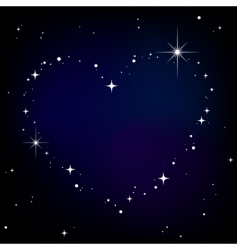 Star heart in night sky vector