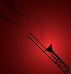 Trombone with musical symbols vector