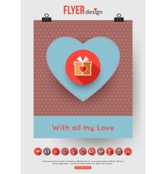 Valentines day brochure template and set of flat vector