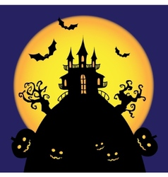 Halloween castle card vector