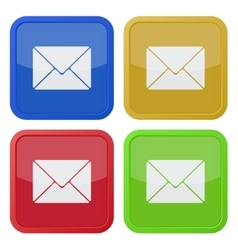 Set of four square icons with envelope vector