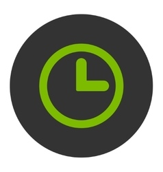 Clock flat eco green and gray colors round button vector