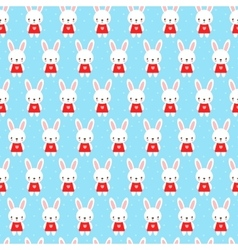 Cute childish seamless pattern with bunny vector