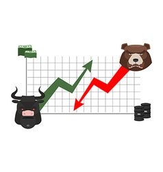 Bull and bear finance rise and fall of quotations vector