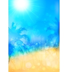 Blurred summer tropical background with palms vector