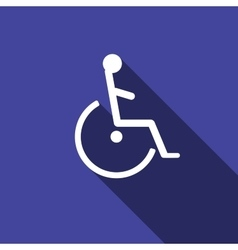 Disabled handicap icon with long shadow vector