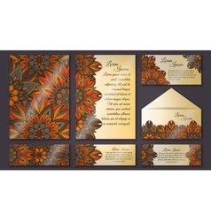 Invitation cards set vintage decorative elements vector