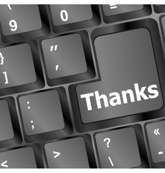 A thanks message on enter key of keyboard vector
